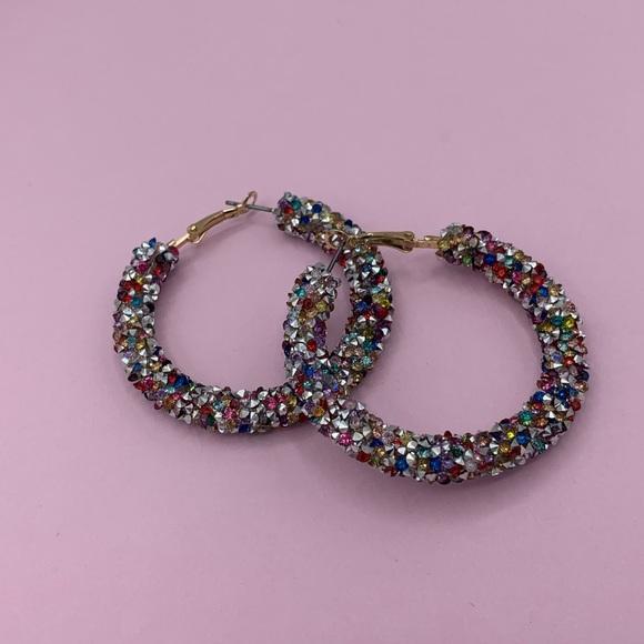 BaubleBar Jewelry - Rainbow Crystal Hoop Earrings
